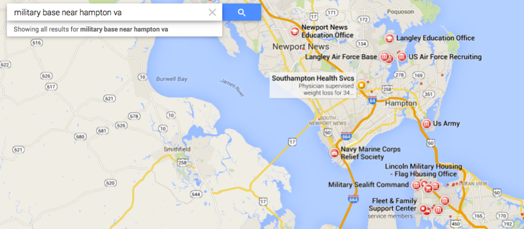 Military bases near Hampton, Virginia.