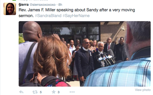 James Miller reminds the media to look at God, not him.